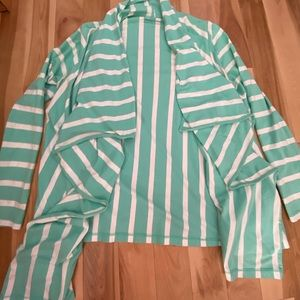 Vineyard Vines teal striped waterfall cardigan